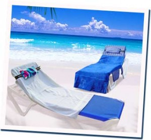 Inflatable pillow prize on waterfront lounge chair