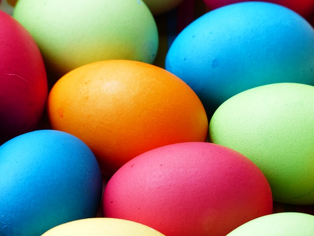 orange, red, green, and blue dyed easter eggs