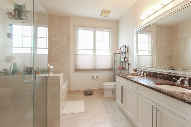 master bathroom in Port Liberte townhome