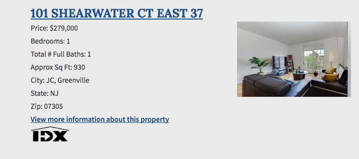 Real estate listing information next to a picture of the property.