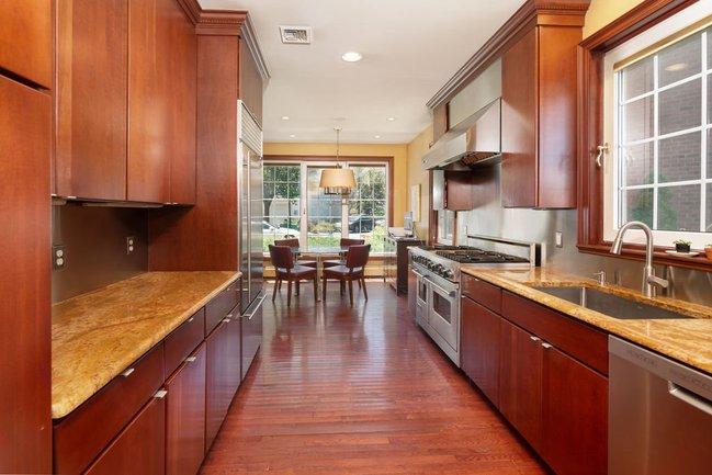 galley style gourmet kitchen