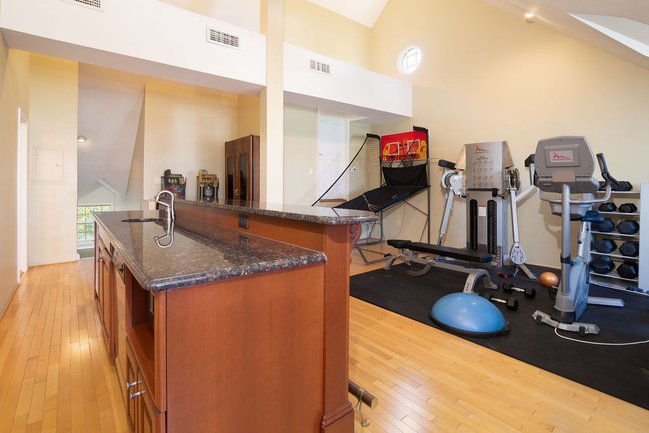 loft with workout room