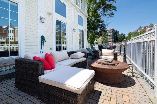 waterfront backyard patio
